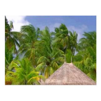 Hütte und Bäume an den Stränden von maledivischen Postkarte