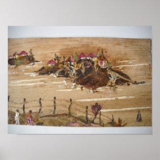 Hütten auf Hügeln Poster