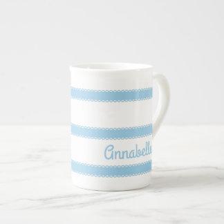 Hütten-blaue Bänder personalisiert Porzellantasse