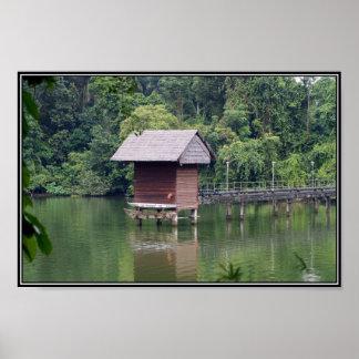 Hütten-und See-Szenen-Plakat