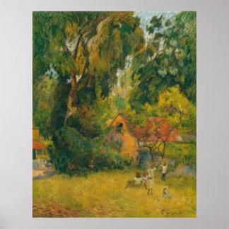 Hütten unter den Bäumen durch Paul Gauguin Plakatdruck