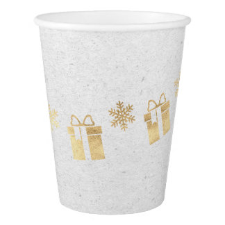Hütten-Weihnachtsweißes graues goldenes Geschenk Pappbecher