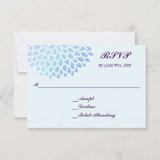 Hydrangea Blue RSVP Wedding Response Reply 3.5x5