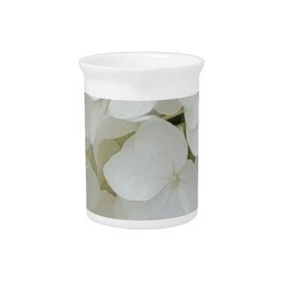 Hydrangea-Blumen-weiße elegante mit Blumenblüte Krug