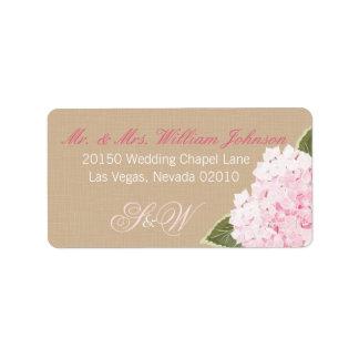 Hydrangea-Blumenstrauß-Hochzeits-Aufkleber Adressetiketten