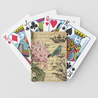 Hydrangea-Franzosevogel Kunst der Vintagen Krone Bicycle Spielkarten