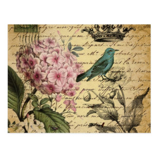 Hydrangea-Franzosevogel Kunst der Vintagen Krone Postkarte