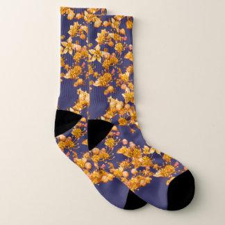 Hydrangea Orang und Marine-Blau Socken