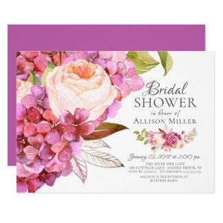 Hydrangea-Rosen-BlumenBrautparty-Einladungen Karte