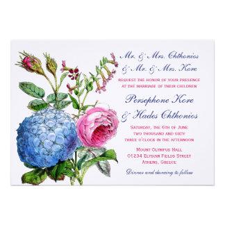 Hydrangea-Rosen-Blumenhochzeits-Einladungen