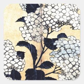 Hydrangea und Schwalbe durch Katsushika Hokusai Quadratischer Aufkleber