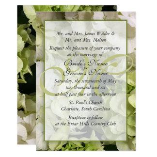 Hydrangea-weiße grüne Hochzeits-Reihe Karte