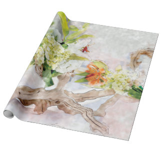 Hydrangeas Bella Aquarell-Leinen-Packpapier Geschenkpapier