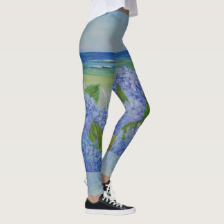 Hydrangeas durch das Meer Leggings