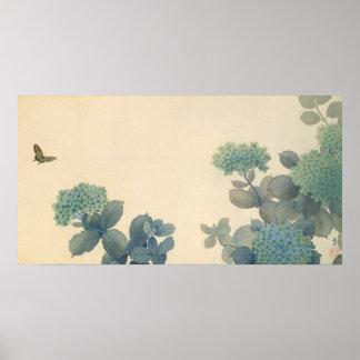 Hydrangeas-japanische Silk Malerei Poster