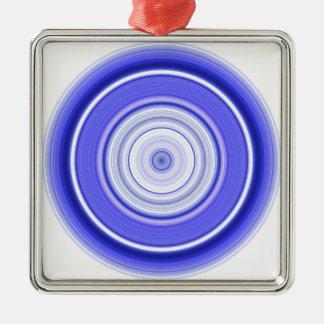 Hypnotischer Kreis-blaues Weiß Silbernes Ornament
