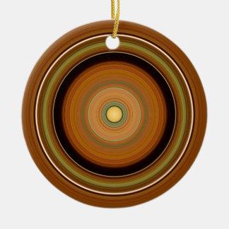 Hypnotischer Kreis Brown Keramik Ornament