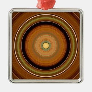 Hypnotischer Kreis Brown Silbernes Ornament