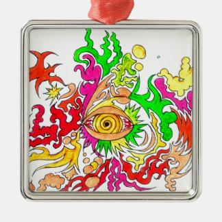 Hypnotisches Auge Silbernes Ornament