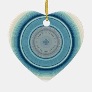 Hypnotisches Kreis-Aqua-Weiß Keramik Ornament