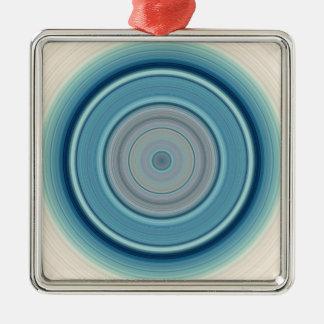Hypnotisches Kreis-Aqua-Weiß Silbernes Ornament