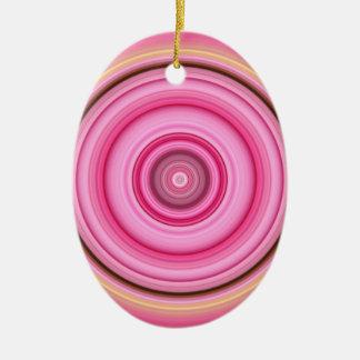 Hypnotisches Kreis-Rosa-Gelb Keramik Ornament
