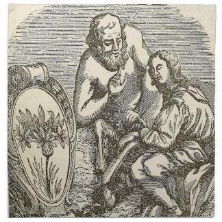Hypnotism, der mit Spiegel zeichnet Serviette