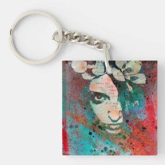 HYPOTHERMIE - Graffiti-Blumen-Mädchenporträt Schlüsselanhänger