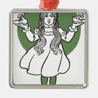 i027_edit Zauberer Quadratisches Silberfarbenes Ornament