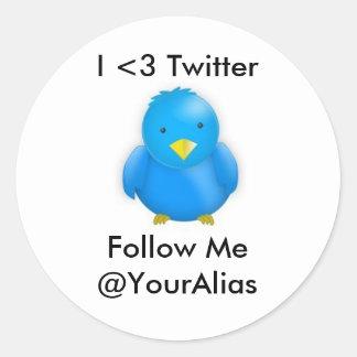 I <3 Twitter_Stickers Runder Aufkleber