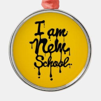 I am new school (Swag,Dope,Hipster) Rundes Silberfarbenes Ornament