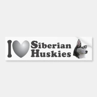 I Bild des Herz-sibirisches Huskies-w/Stylized - Autoaufkleber