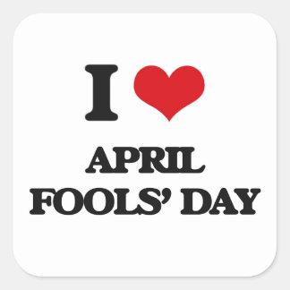 I der Tag Liebe-April-Dummköpfe Quadrat-Aufkleber