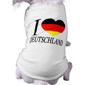 I deutsches Flaggen-Herz LiebeDeutschland Deutschl Ärmelfreies Hunde-Shirt
