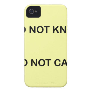 I DO NOT KNOW. I DO NOT CARE. iPhone 4 Case-Mate HÜLLE