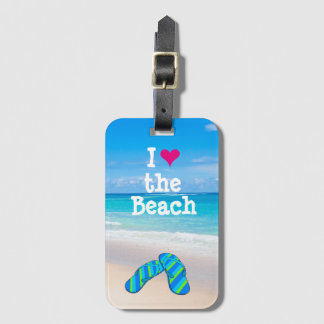 I drehen Herz der Strand Reinfälle im Sand um Kofferanhänger