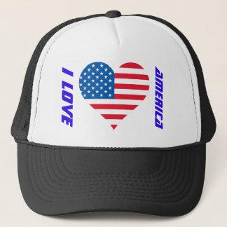 I Flaggen-Fernlastfahrer-Hut Liebe-Amerikas USA Truckerkappe