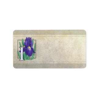 I für Iris-Blumen-Monogramm Adressaufkleber