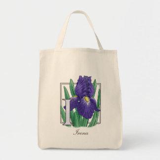 I für Iris-Blumen-Monogramm Tragetasche