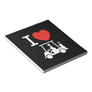 I Golf-Wagen des Herz-(Liebe) Notizblock