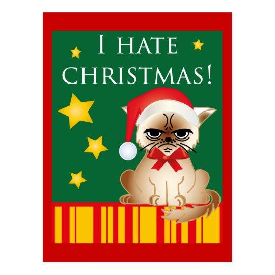 I hate christmas! Lustige Anti-Weihnachtskarte Postkarte