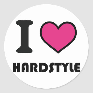 i heart hardstyle round stickers