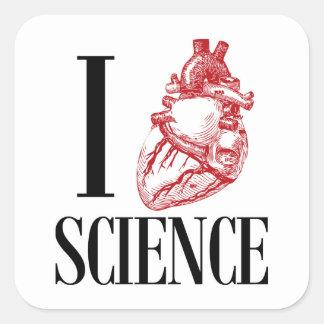 I heart science quadratischer aufkleber