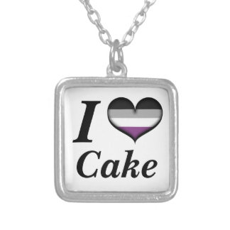 I Herz-asexualer Kuchen Versilberte Kette