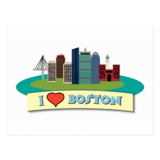 I Herz Boston Postkarte