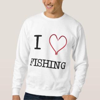 I [Herz] Crew-Hals-Strickjacke fischend Sweatshirt