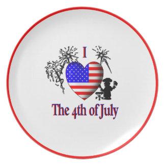 I Herz das 4. des Juli-großen Tellers Melaminteller