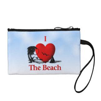 I Herz der Strand Münzbeutel