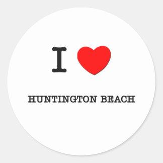 I Herz HUNTINGTON BEACH Runder Aufkleber