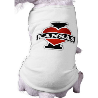 I Herz Kansas Ärmelfreies Hunde-Shirt
